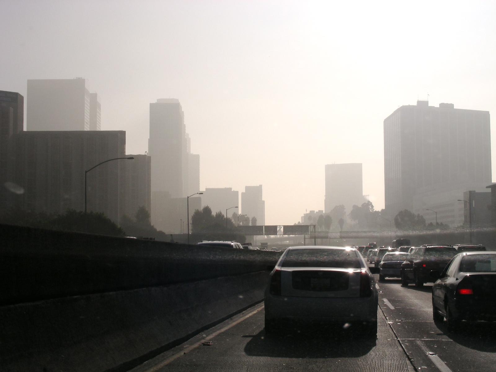Polluted freeway scene in LA California