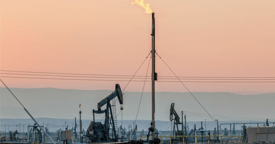 Flares burning off gas at Belridge Oil Field and hydraulic fracking site, which is the fourth largest oil field in California.